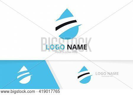 Creative Blue Water Logo Combination. Vector Oil Logotype Design Template.