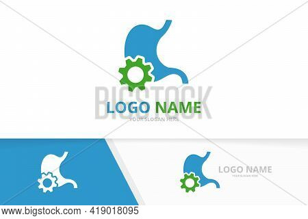 Vector Stomach And Gear Logo Combination. Unique Industrial Gastrointestinal Tract Logotype Design T