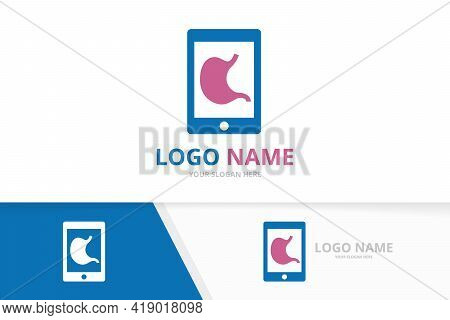 Vector Stomach And Phone Logo Combination. Gastrointestinal Tract And Device Logotype Design Templat