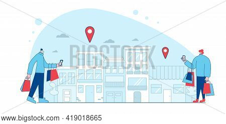 Shop Location. Characters With Shopping Bags Using Their Phones To Find A Store In Apps. Mans Dresse
