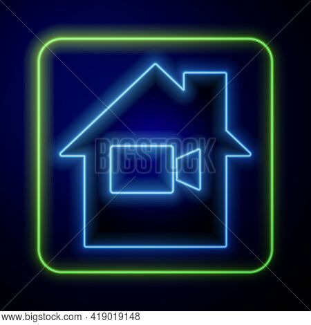 Glowing Neon Video Camera Off In Home Icon Isolated On Blue Background. No Video. Vector