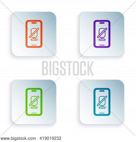 Color Mute Microphone On Mobile Phone Icon Isolated On White Background. Microphone Audio Muted. Set