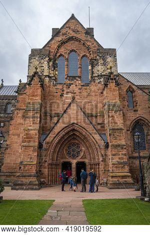 Carlisle, Cumbria, Uk, August 2020 - Carlisle Cathedral Entrance, In The City Of Carlisle, Cumbria,