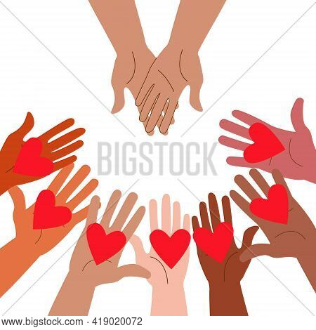 Volunteers Holding Hearts In Their Hands. The Concept Of Support, Love And Help. Friendship Between