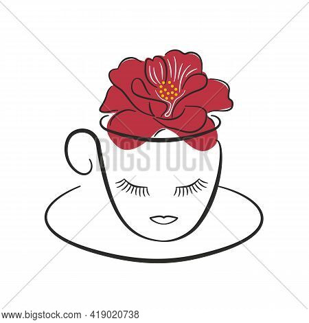 Hibiscus Tea, Stylized Cup. Delicious Healing Red Tea, Medicinal Herbs. Healthy Lifestyle, Spa Salon