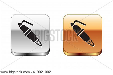 Black Fountain Pen Nib Icon Isolated On White Background. Pen Tool Sign. Silver And Gold Square Butt
