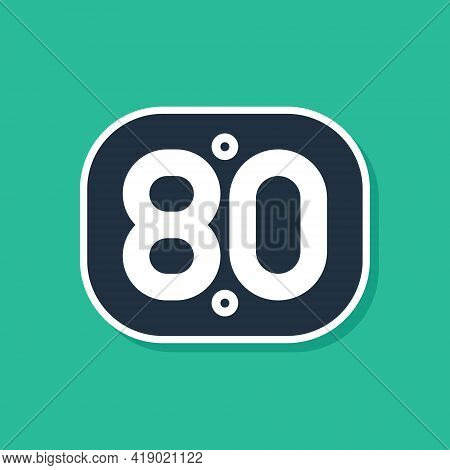 Blue 80s Retro Icon Isolated On Green Background. Eighties Poster. Vector