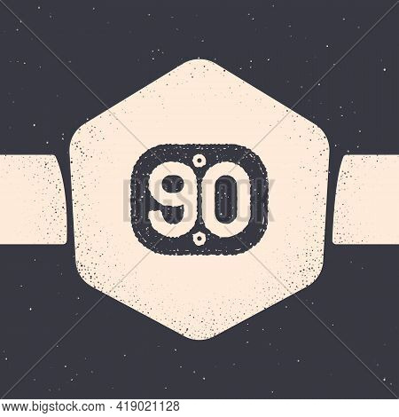 Grunge 90s Retro Icon Isolated On Grey Background. Nineties Poster. Monochrome Vintage Drawing. Vect