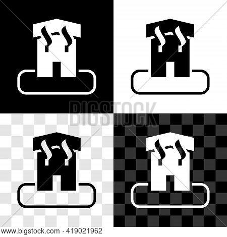Set Arson Home Icon Isolated On Black And White, Transparent Background. Fire In Building. Flames Fr