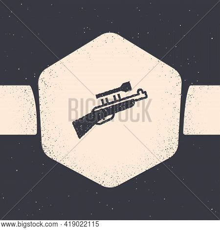 Grunge Sniper Rifle With Scope Icon Isolated On Grey Background. Monochrome Vintage Drawing. Vector