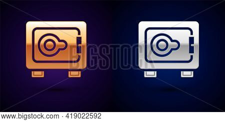 Gold And Silver Safe Icon Isolated On Black Background. The Door Safe A Bank Vault With A Combinatio