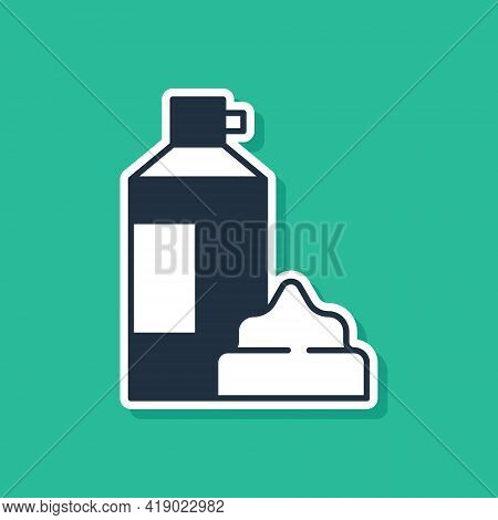 Blue Whipped Cream In An Aerosol Can Icon Isolated On Green Background. Sweet Dairy Product. Milk Pr