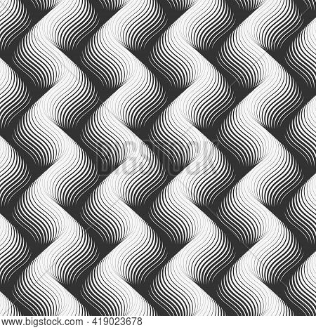 Vector Pattern With Geometric Waves. Endless Stylish Texture. Ripple Monochrome Background Repeating