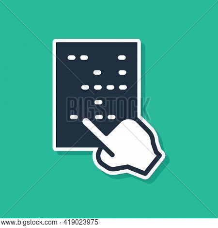Blue Braille Icon Isolated On Green Background. Finger Drives On Points. Writing Signs System For Bl