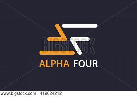 Parallelogram Af Logo. Initial Letter Af Graphic Logo Design Concept, Line Art Style. Modern Simple