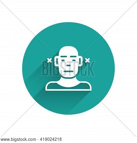 White Deafness Icon Isolated With Long Shadow. Deaf Symbol. Hearing Impairment. Green Circle Button.