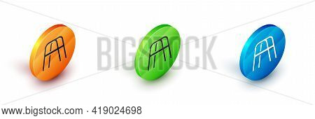 Isometric Walker For Disabled Person Icon Isolated On White Background. Circle Button. Vector