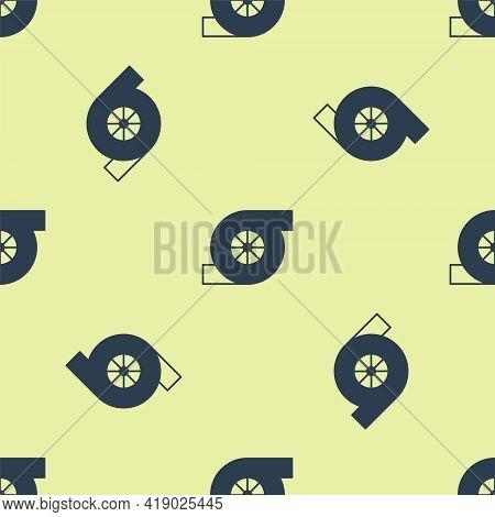 Blue Automotive Turbocharger Icon Isolated Seamless Pattern On Yellow Background. Vehicle Performanc