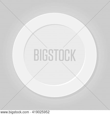 White Plate On Gray Background. Household Utensils And Cutlery. Empty Round Shape Plate. Porcelain C