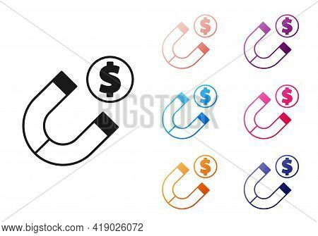 Black Magnet With Money Icon Isolated On White Background. Concept Of Attracting Investments. Big Bu