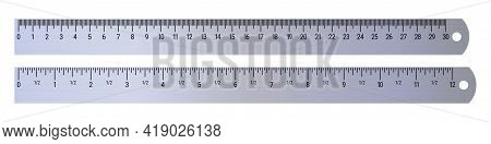 Realistic Metal Rulers 30 Centimeters And 12 Inches. 3d Realistic Vector Illustration Isolated On Wh