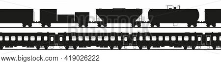 Seamless Train Silhouettes. Freight And Passenger Train. Flatcar, Tank Car And Others. Flat Style Ve