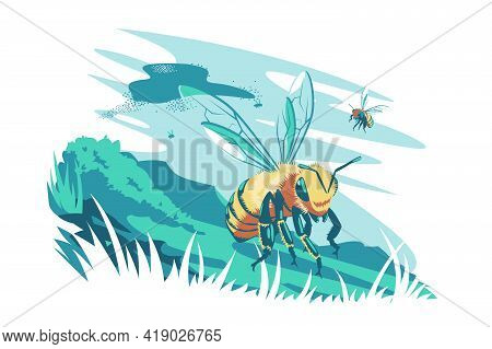 Cute Bee Flying In Air Vector Illustration