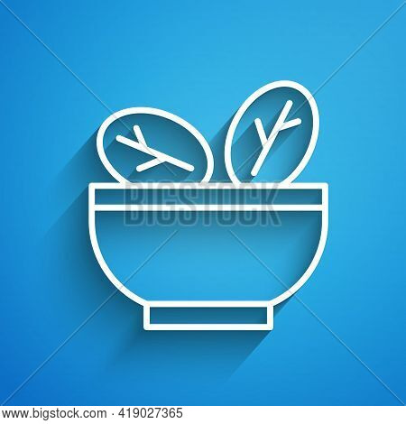 White Line Salad In Bowl Icon Isolated On Blue Background. Fresh Vegetable Salad. Healthy Eating. Lo