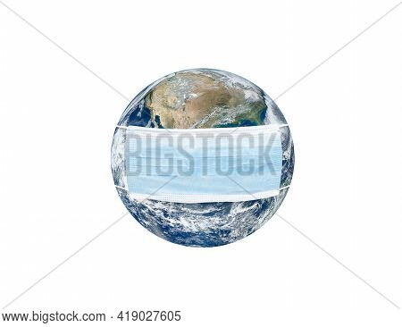 World With Face Mask. Concept Of Pandemic And Contagion Protection. Earth Provided By Nasa