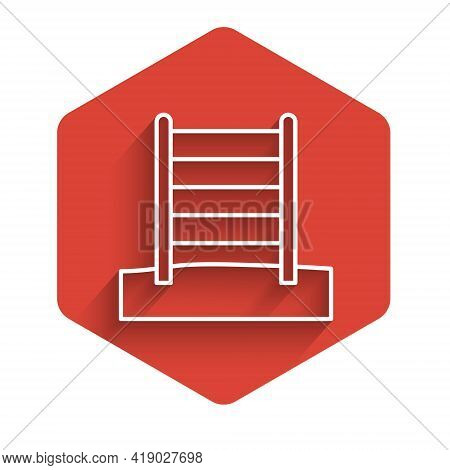 White Line Wooden Swedish Wall Icon Isolated With Long Shadow. Swedish Stairs. Red Hexagon Button. V