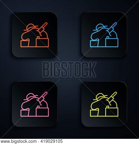 Color Neon Line Murder Icon Isolated On Black Background. Body, Bleeding, Corpse, Bleeding Icon. Con
