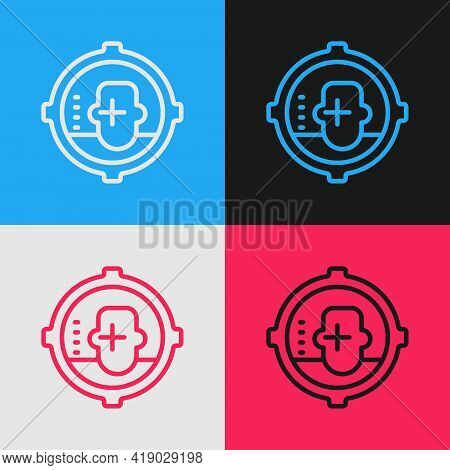 Pop Art Line Headshot Icon Isolated On Color Background. Sniper And Marksman Is Shooting On The Head