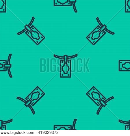 Blue Line Money Laundering Icon Isolated Seamless Pattern On Green Background. Money Crime Concept.