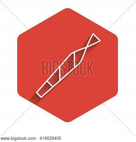 White Line Marijuana Joint, Spliff Icon Isolated With Long Shadow. Cigarette With Drug, Marijuana Ci