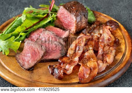 Beef Steak With Fried Bacon