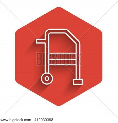 White Line Walker For Disabled Person Icon Isolated With Long Shadow. Red Hexagon Button. Vector