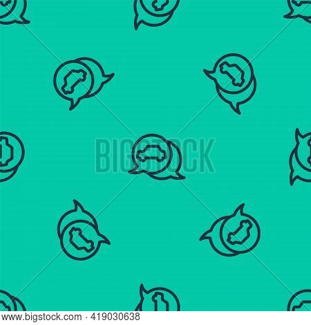 Blue Line Car Service Icon Isolated Seamless Pattern On Green Background. Auto Mechanic Service. Rep