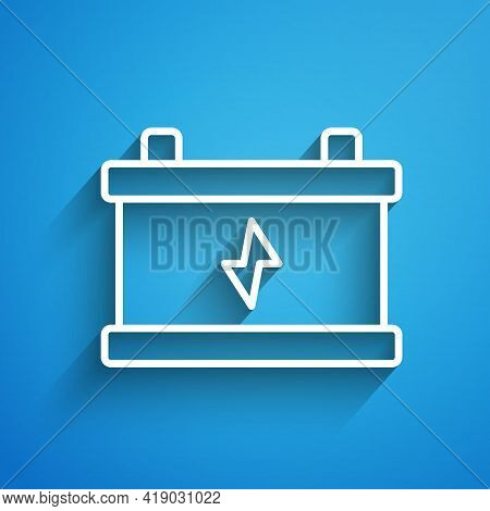 White Line Car Battery Icon Isolated On Blue Background. Accumulator Battery Energy Power And Electr
