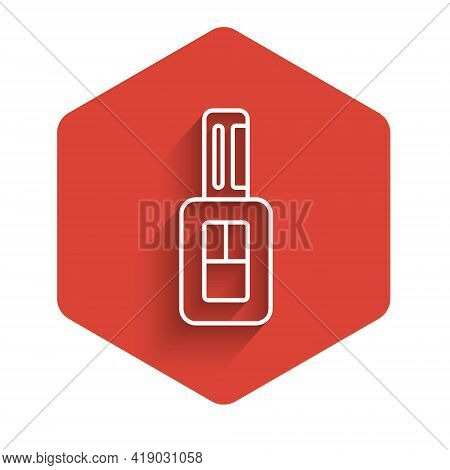 White Line Car Key With Remote Icon Isolated With Long Shadow. Car Key And Alarm System. Red Hexagon