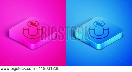 Isometric Line Magnet With Money Icon Isolated On Pink And Blue Background. Concept Of Attracting In