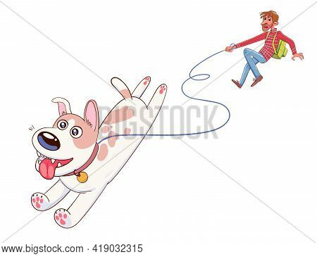 Dog Pulls The Leash With Its Owner. Funny Cartoon Character. Vector Illustration. Isolated On White