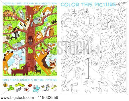 Funny Cats Sit On A High Tree. Count All The Cats And Talk About Them. Find Animals In The Picture.
