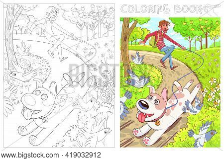 Dog Pulls The Leash With Its Owner. Walk In The Park. Funny Cartoon Character. Vector Illustration.