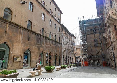 Perugia,italy May 01 2021:street Baldo In The Center Of Perugia