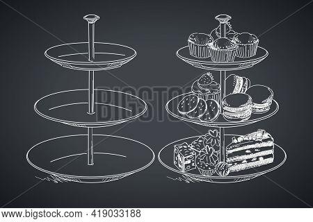 Three Tier Serving Tray. Hand Drawing On A Blackboard. Vector Illustration