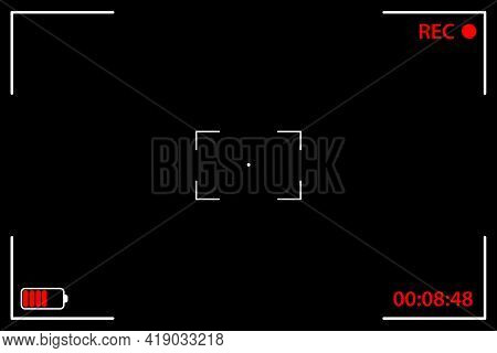 Camera Viewfinder Black Background. Ui Elements - Recording Label, Battery Icon, Time Indicator, Cro