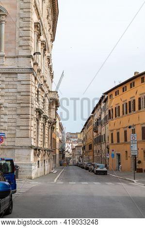 Perugia,italy May 01 2021:via Baglioni In The Center Of Perugia