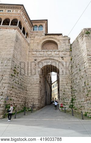 Perugia,italy May 01 2021:etruscan Arch In The Street Of Danti In The Center Of Perugia