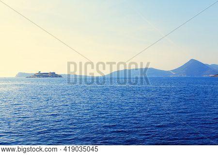 Mamula Island In Adriatic Sea . Lastavica Islet In Kotor Bay