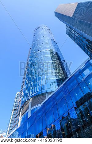 Skyscrapers And High-rise Buildings In The Financial And Business District Of Frankfurt. Looking Up